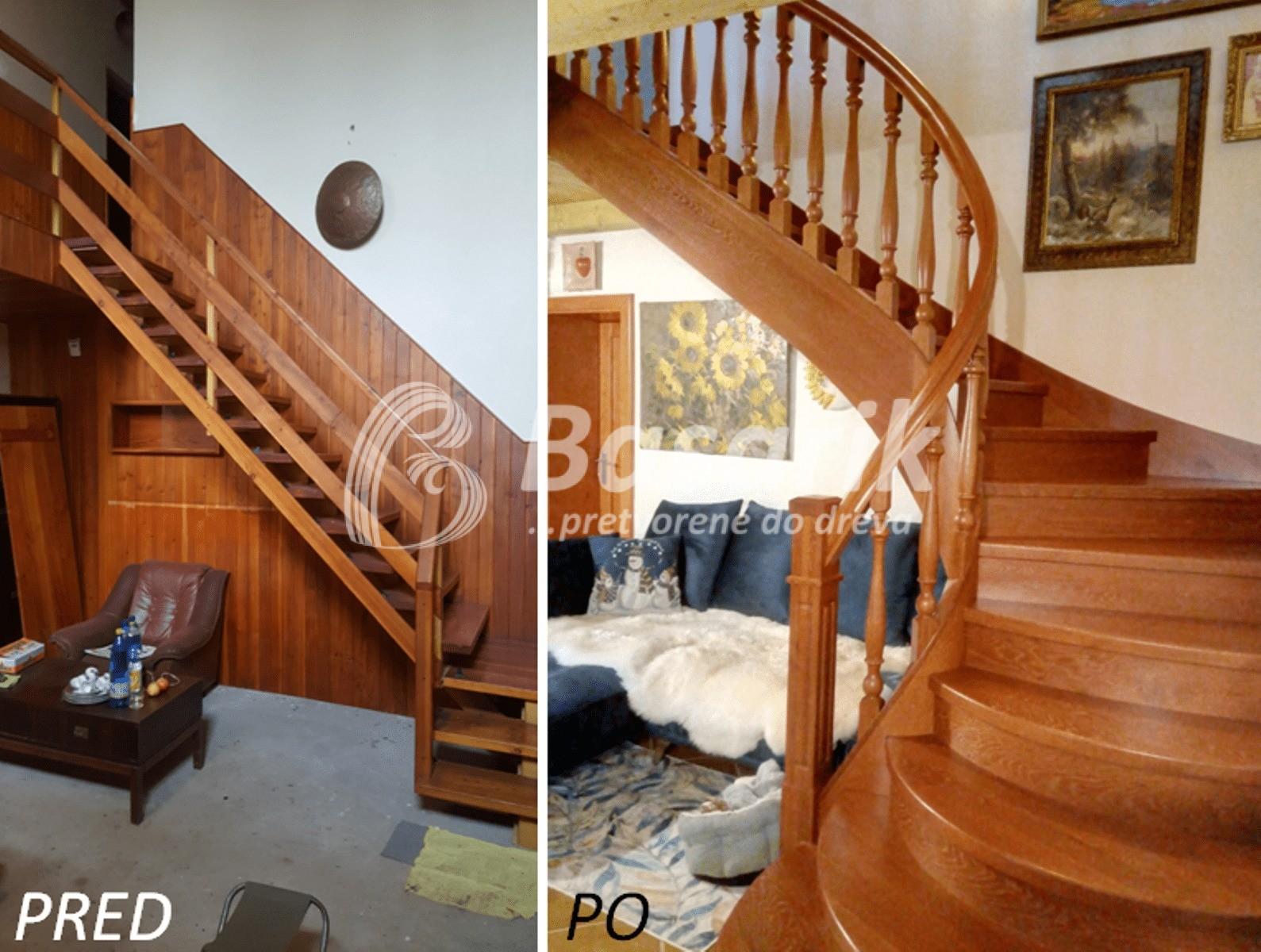drevené schody pred a po